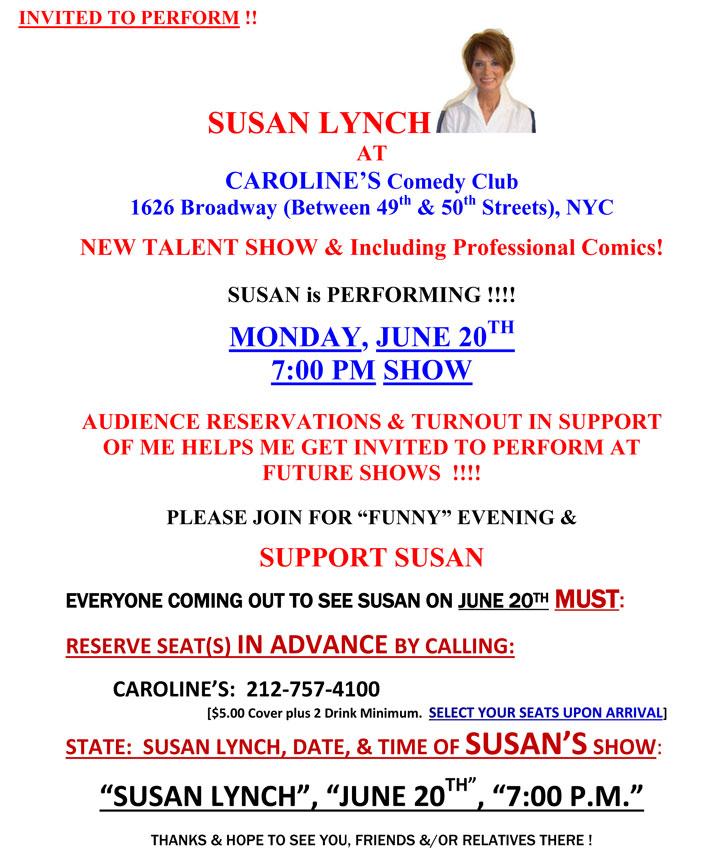 Susan Lynch at Caroline's Comedy Club