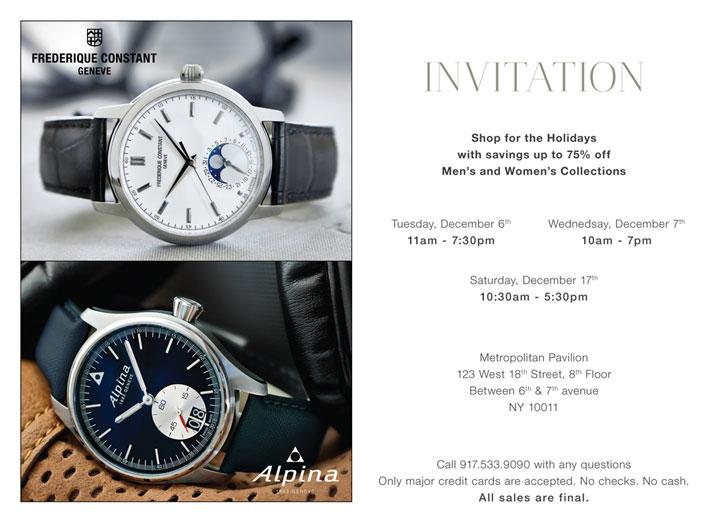 Swiss Luxury Watches Sample Sale
