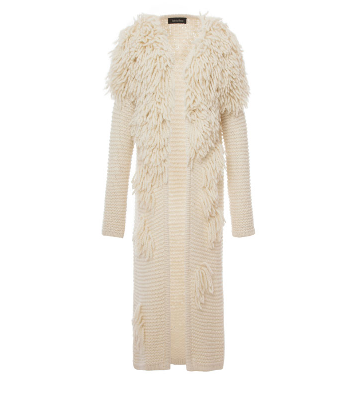 Tabula Rasa Sample Sale cozy, long winter cardigan, embellished with pom poms and fringe was $1295, now $648
