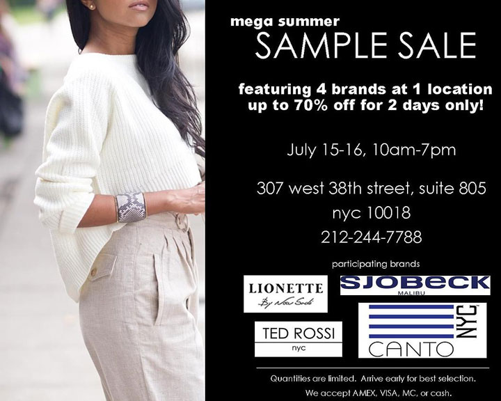 Ted Rossi, Canto NYC, & More Sample Sale