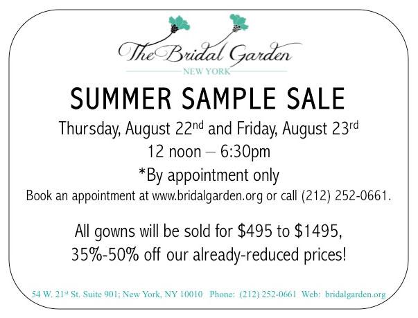 The Bridal Garden Summer Sample Sale