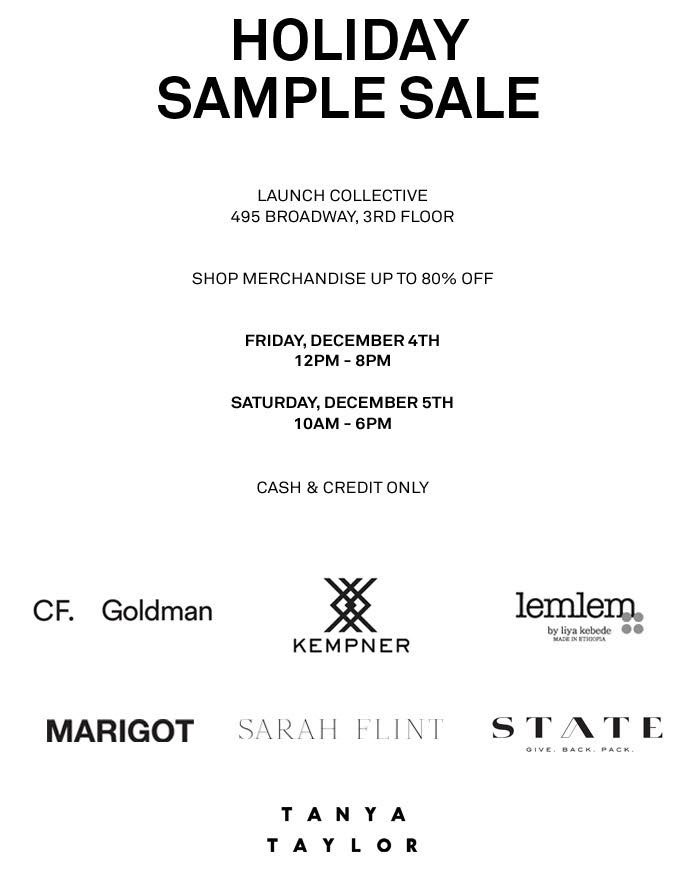 The Collective Showroom Holiday Sample Sale