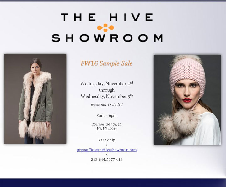 The Hive Showroom Fall/Winter 2016 Sample Sale