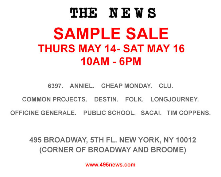 The news clothing new york sample sale for 120 broadway 5th floor new york ny 10271