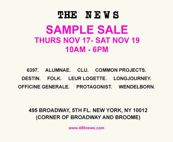 The news clothing accessories new york sample sale for 120 broadway 5th floor new york ny 10271