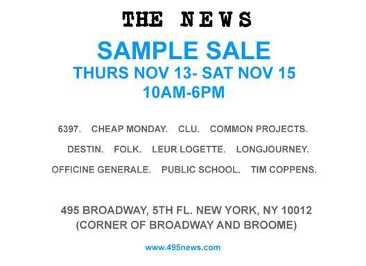The News Showroom Sample Sale