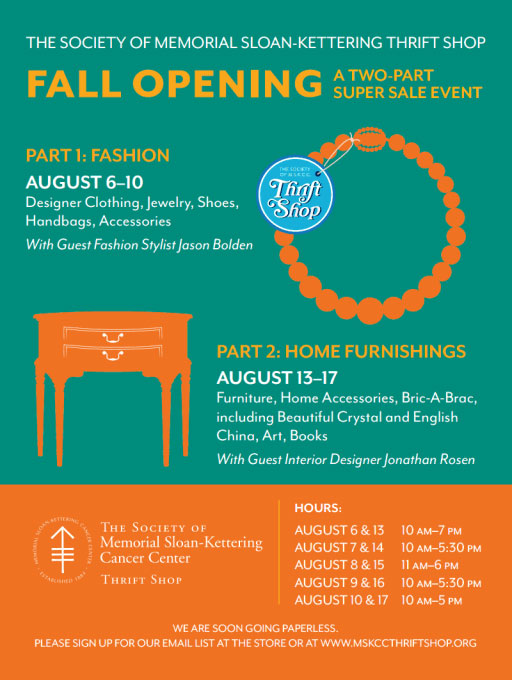 The Society of MSKCC Thrift Shop Home Furnishings Fall Opening Sale