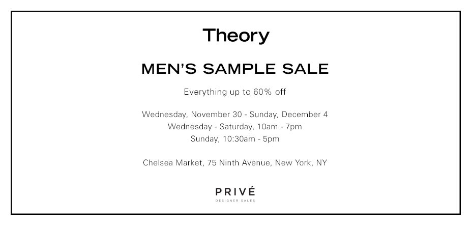 Theory Men's Sample Sale