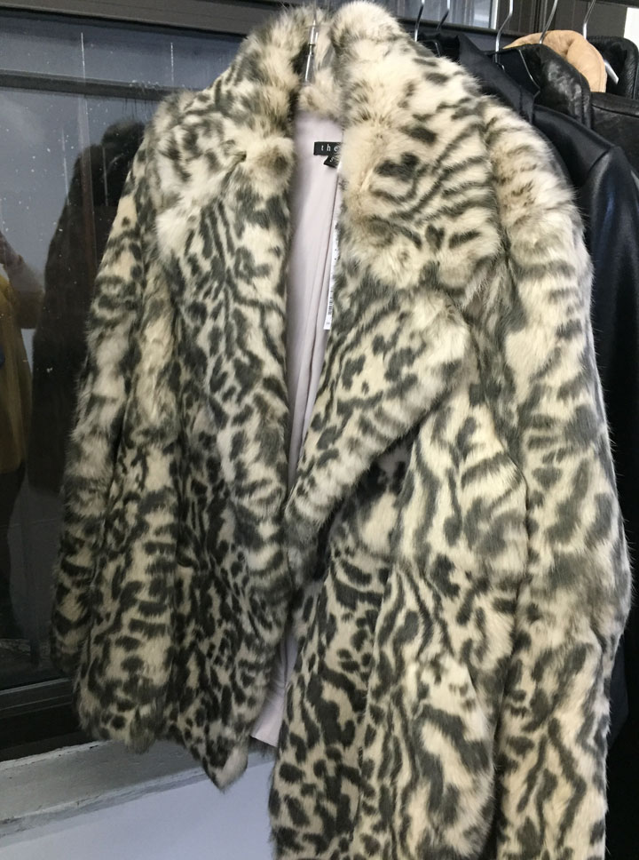 Theory fur coat, $349. Original price tag $515.