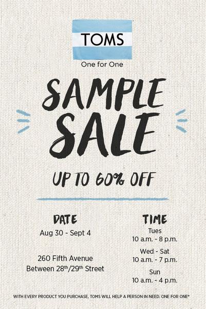 Toms Shoes Sample Sale