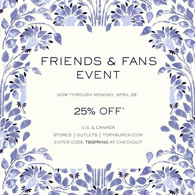 Tory Burch Friends & Fans Sale