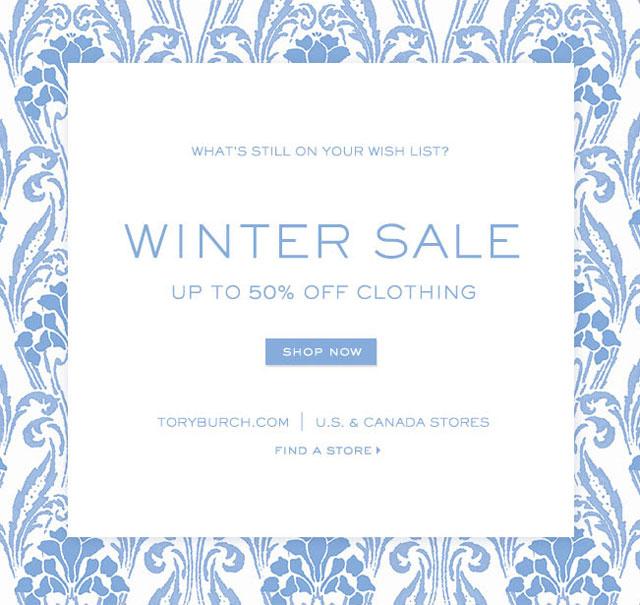 Tory Burch Winter Retail Sale