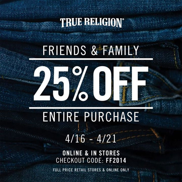True Religion Jeans New York Friends & Family Sale ...