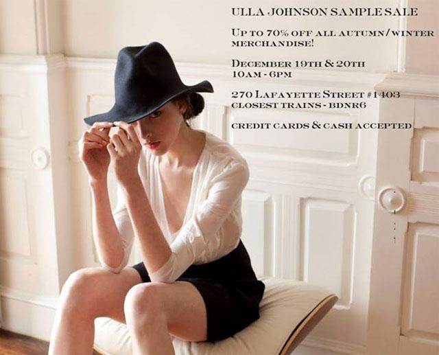 Ulla Johnson Autumn/Winter Sample Sale