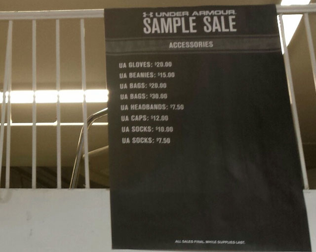 Under Armour Sample Sale accessories price list