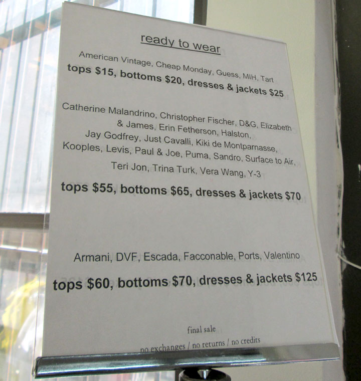 Ready-to-wear Price List