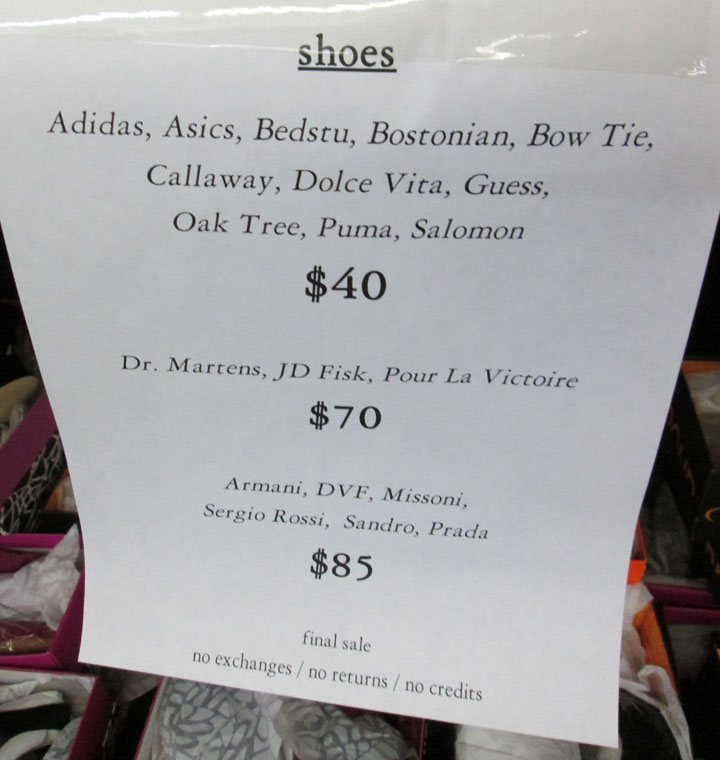 Shoes Price List