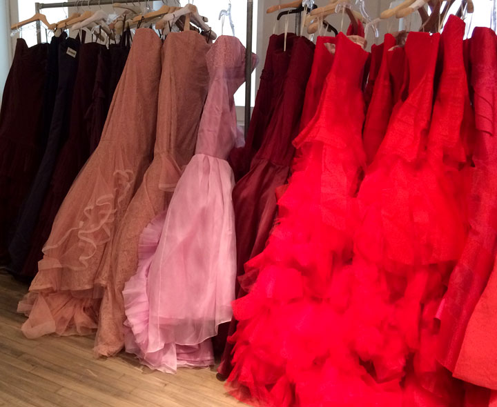 Cherry red, bordeaux, pink, navy and aubergine wedding dresses
