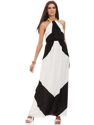 Vince Camuto Dress, Sleeveless Colorblocked Halter-Neck Maxi