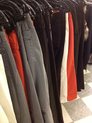 Vince Brown Cords and Grey and Orange Denim ($117-$136.50)