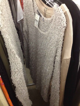 Vince Oversized Nude Sweater with laced in silver thread ($149)