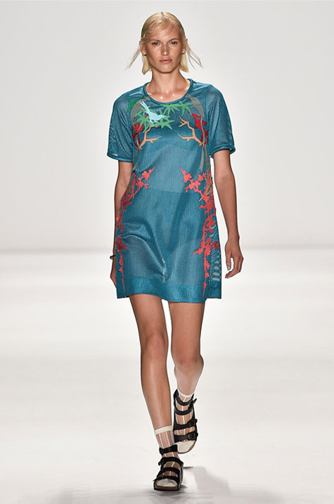 Teal Cloisonné appliqué short sleeve mesh shift: $180 ($695)