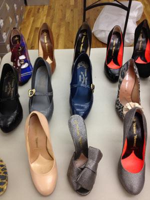 Vivienne Westwood Blue Leopard Heels ($348), Embossed Metallic Leather Heels ($325), Five Inch Nude Heels ($325), and Classic Black Heels ($325)