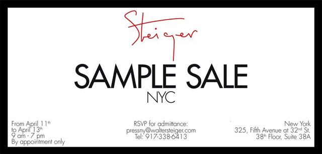 Walter Steiger Annual Sample Sale