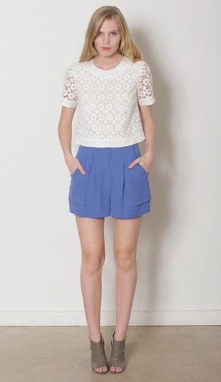 Eyelet Kristen blouse original $210, now $60; sail away short in silk crepe, original $260, now $50