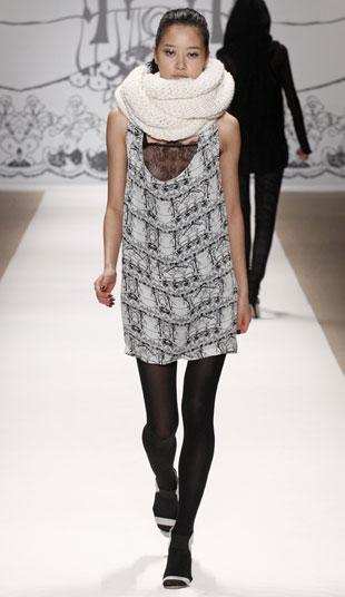 Midnight picnic hand knit scarf, original $102, now $40; Hansel & Gretel lace insert silk dress, original $312, now $60