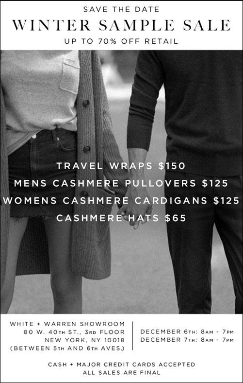 White + Warren Winter Cashmere Sample Sale