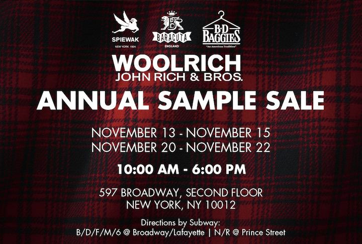Woolrich and Friends Annual Sample Sale