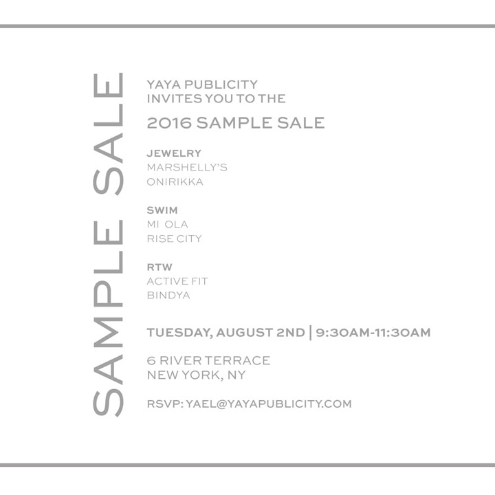 YaYa Publicity Sample Sale