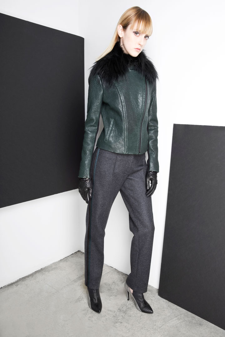 Yigal Azrouel Detachable Fur Collar Green Leather Jacket: $475 (orig. $1,950)