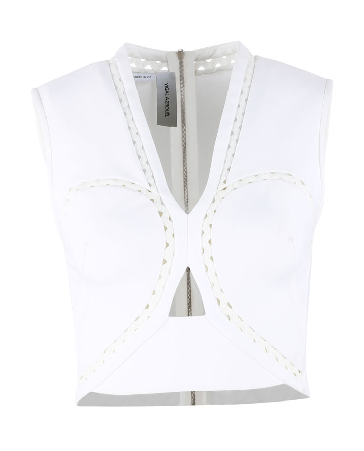 Yigal Azrouel Ric Rac Mechanical Stretch Crop Top: $100 (orig. $590)