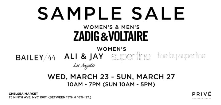 Zadig & Voltaire, Bailey44, & More Sample Sale