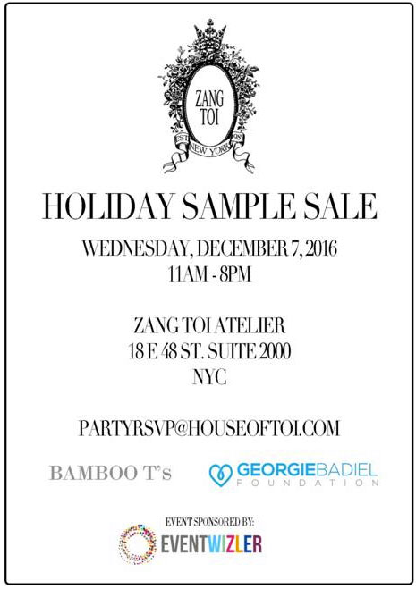 Zang Toi Holiday Sample Sale