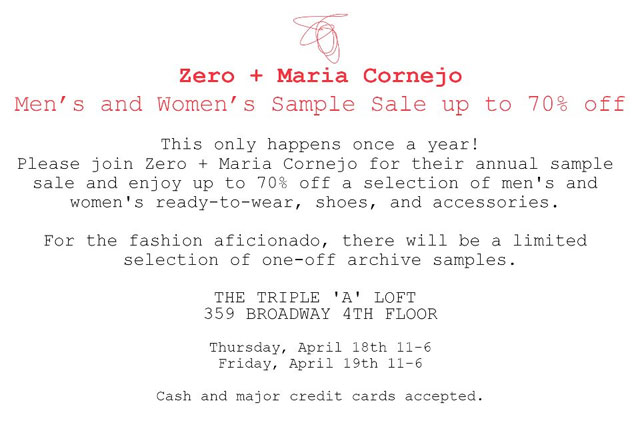 Zero + Maria Cornejo Sample Sale