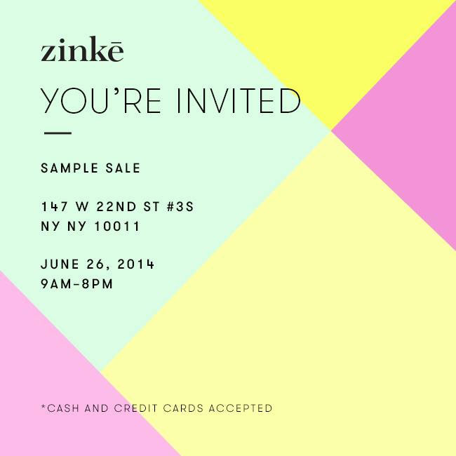 Zinke Summer Sample Sale