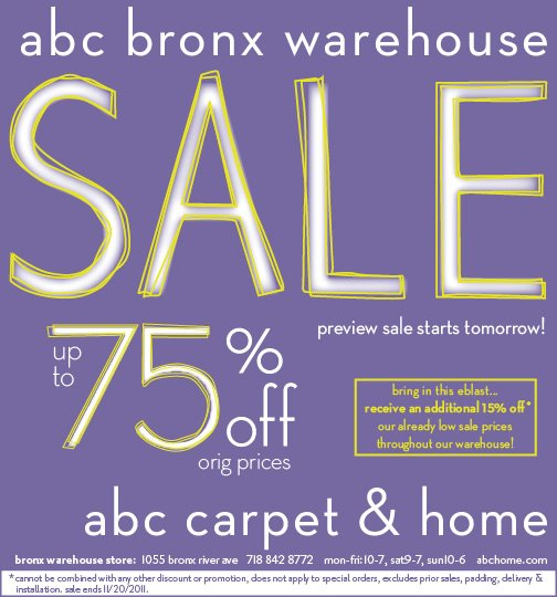 new york sample sales abc carpet home bronx warehouse sale