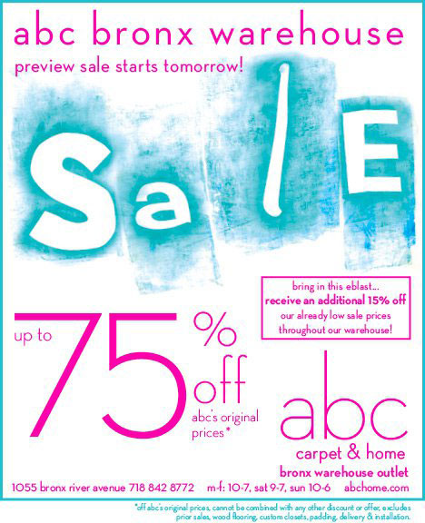 ABC Carpet & Home Bronx Warehouse Sale