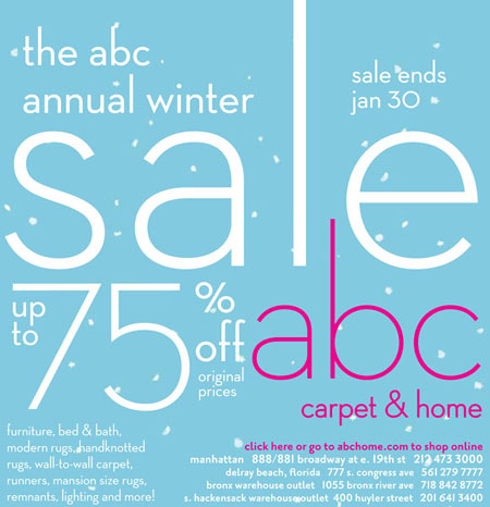 New york sample sales abc carpet home winter sale for Abc carpet outlet sale