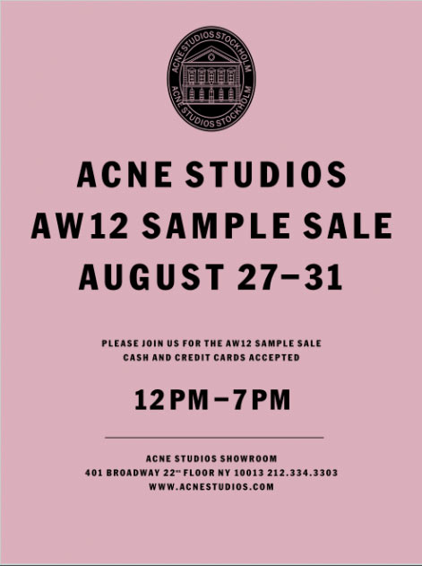 acne studios clothing footwear accessories new york sample sale