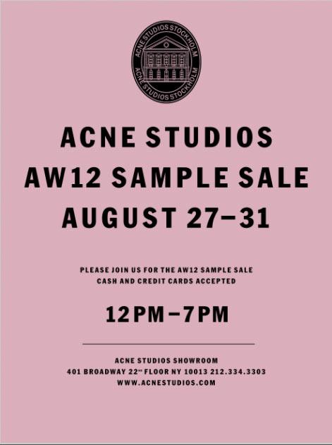 ACNE Studios Clothing, Footwear & Accessories New York Sample Sale ...