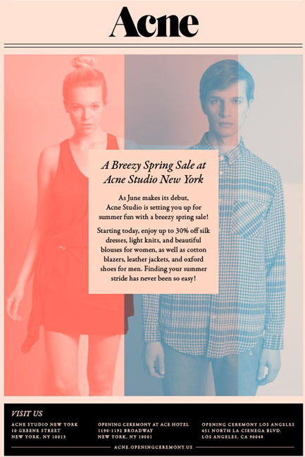 new york sample sales acne studio nyc spring sale. Black Bedroom Furniture Sets. Home Design Ideas