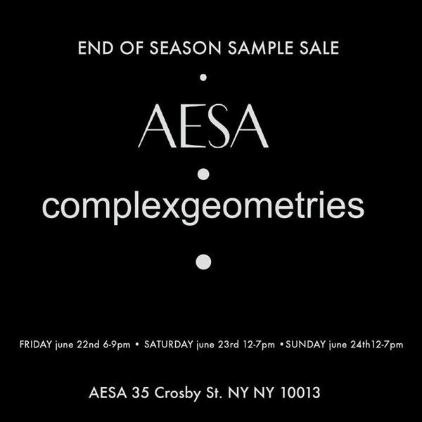 AESA + complexgeometries Sample Sale