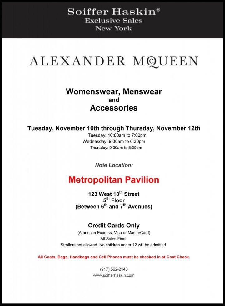 Alexander McQueen Sample Sale