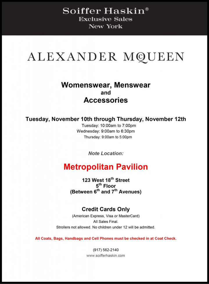 sample new york will Alexander McQueen Clothing