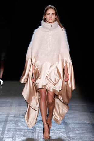 AW Fall 2011collection.Mohair/Satin High Neck Drawstring Poncho. Found on sale at Moda Operandi for $3,300. Priced at $1,000 at the sample sale.