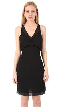 T by Alexander Wang Silk Georgette and Mesh Strap Dress ($171, orig $245)